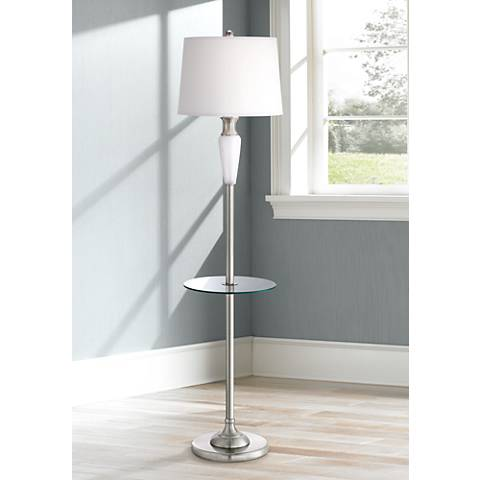 Visalia Brushed Steel Tray Table Floor Lamp