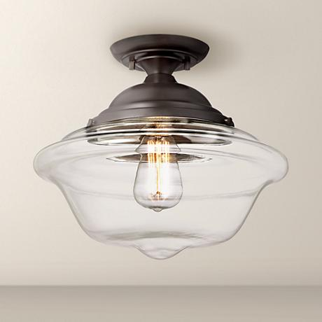 "Possini Euro Schoolhouse 13"" Wide Bronze Ceiling Light"
