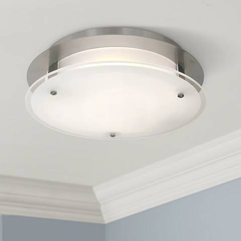 "Access Vision Round 12"" Wide Brushed Steel LED Ceiling Light"