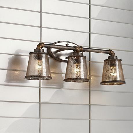 Fillmore 23 1 4 wide industrial rust 3 light bath fixture for Bathroom 3 light fixtures