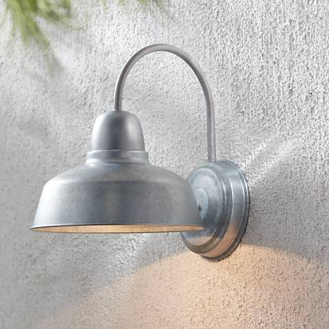 "Urban Barn 13"" High Galvanized Outdoor Wall Light"