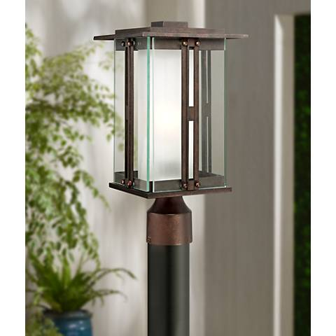 "Double Glass 15 3/4"" High Bronze Outdoor Post Light"