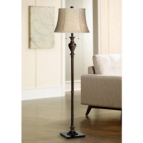 Jenna Twin Pull Chain Bronze Floor Lamp