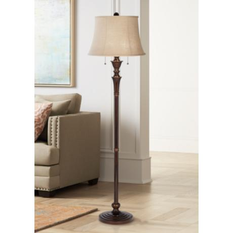 brooke twin pull chain bronze floor lamp 4n865 lamps plus. Black Bedroom Furniture Sets. Home Design Ideas
