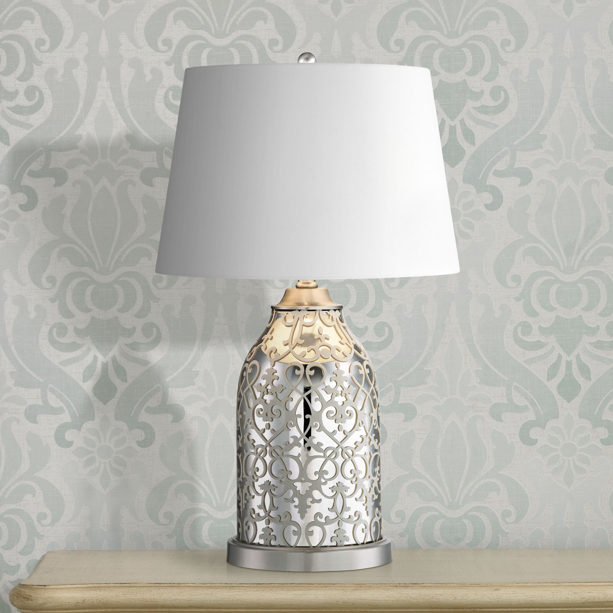 zoey pattern mercury glass table lamp - Mercury Glass Table Lamp