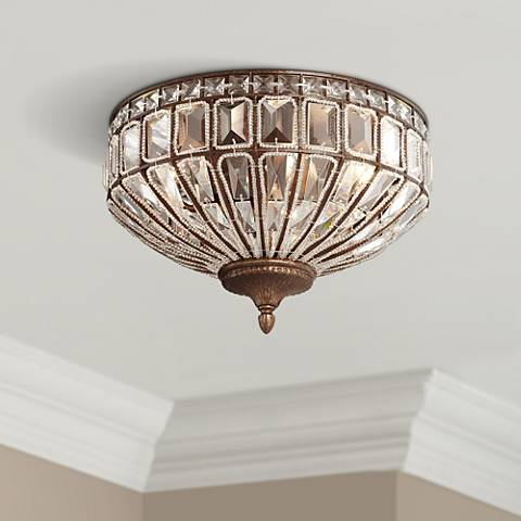"Ibeza 15 1/2""W 3-Light Crystal Honey Bronze Ceiling Light"