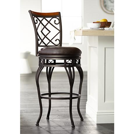 "Hartley 30"" Wood and Bronze Metal Swivel Barstool"