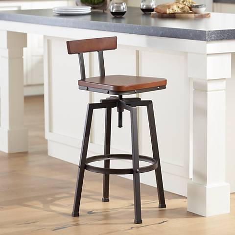 Roark Dark Wood Hammered Bronze Adjustable Swivel Barstool