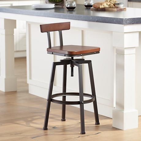 Roark Hammered Bronze Adjustable Height Barstool