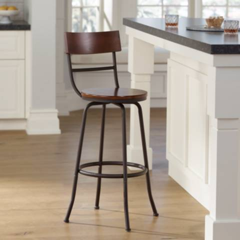 langdon 29 wood and bronze metal swivel barstool 4v963 lamps plus. Black Bedroom Furniture Sets. Home Design Ideas