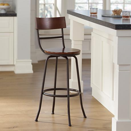 "Langdon Wood and Bronze Metal 29"" Swivel Barstool"