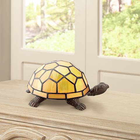 "Amber Yellow 3 1/2""H Tiffany Shell Turtle LED Accent Lamp"