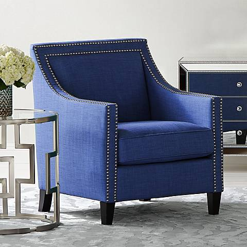 Flynn Navy Blue Upholstered Armchair