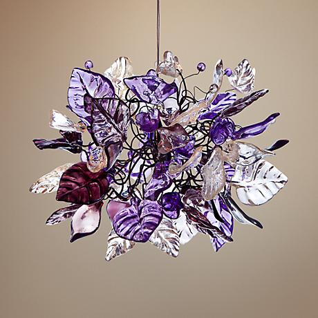 "Lux Collection 10"" Wide Violet Frost Pendant"