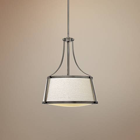 "Hinkley Charlotte 16"" Wide Antique Nickel Pendant"
