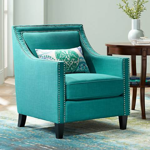 Flynn Teal Upholstered Armchair 4y556 Lamps Plus