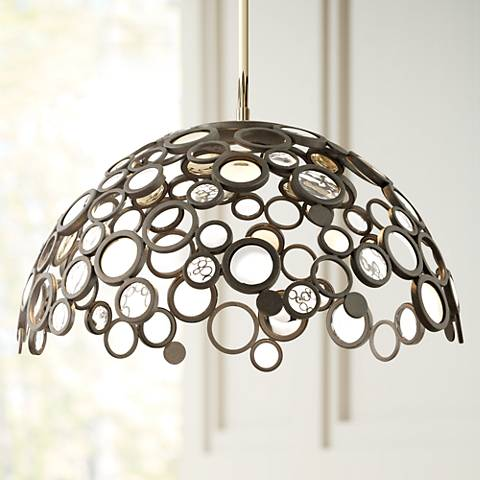 "Corbett Fathom Collection 30"" Wide Bronze LED Dome Pendant"