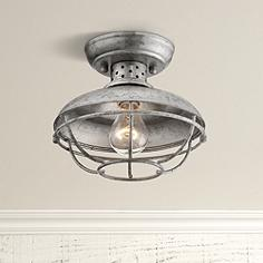 Franklin Park 8 1 2 Wide Galvanized Outdoor Ceiling Light