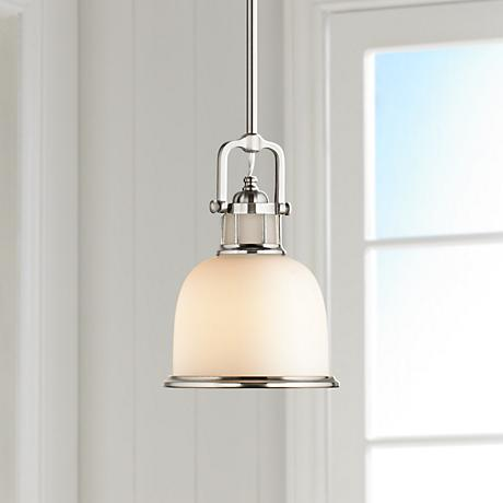 "Feiss Parker Place Brushed Steel 8"" Wide Mini Pendant  Light"