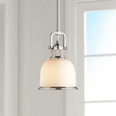 "Parker Place Brushed Steel 8"" Wide Mini Pendant  Light"