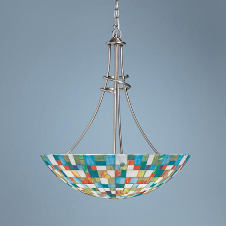 "Mosaic Art Glass 23 1/2"" Wide Pendant Light"