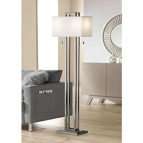 Possini Euro Design Double Tier Brushed Nickel Floor Lamp