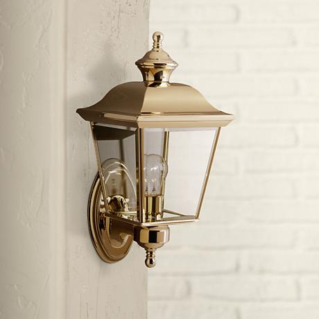 "Kichler Polished Brass 15 1/2"" High Outdoor Wall Light"