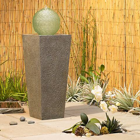 "Asian Column Solar 30"" High Powered Outdoor Fountain"