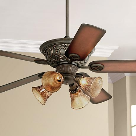 "52"" Casa Contessa™ Bronze Mercury Glass Ceiling Fan"