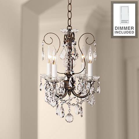 "New Orleans 12""W Bronze Crystal Mini Chandelier w/ Dimmer"