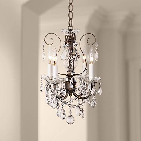 "New Orleans 12"" Wide Bronze Hand-Cut Crystal Mini Chandelier"