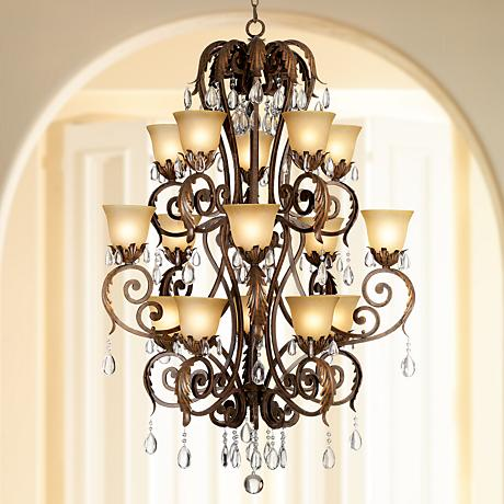 "Valentina Iron Leaf 36 1/2"" Wide Three-Tiered Chandelier"