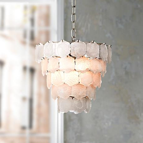 "White Glass Chip 12"" Wide Small Chandelier"