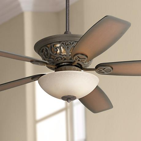 "56"" Casa Brisbane Ceiling Fan With Scavo Glass Light Kit"