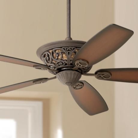 "56"" Casa Brisbane Black Rust with Teak Blades Ceiling Fan"