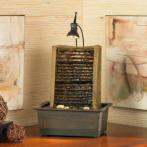 "Organic Modern 10 1/4"" High Lighted Table Fountain"