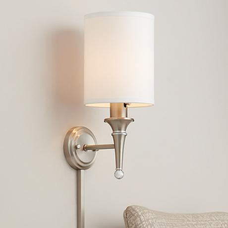 Contemporary Brushed Steel Finish Plug-in Sconce