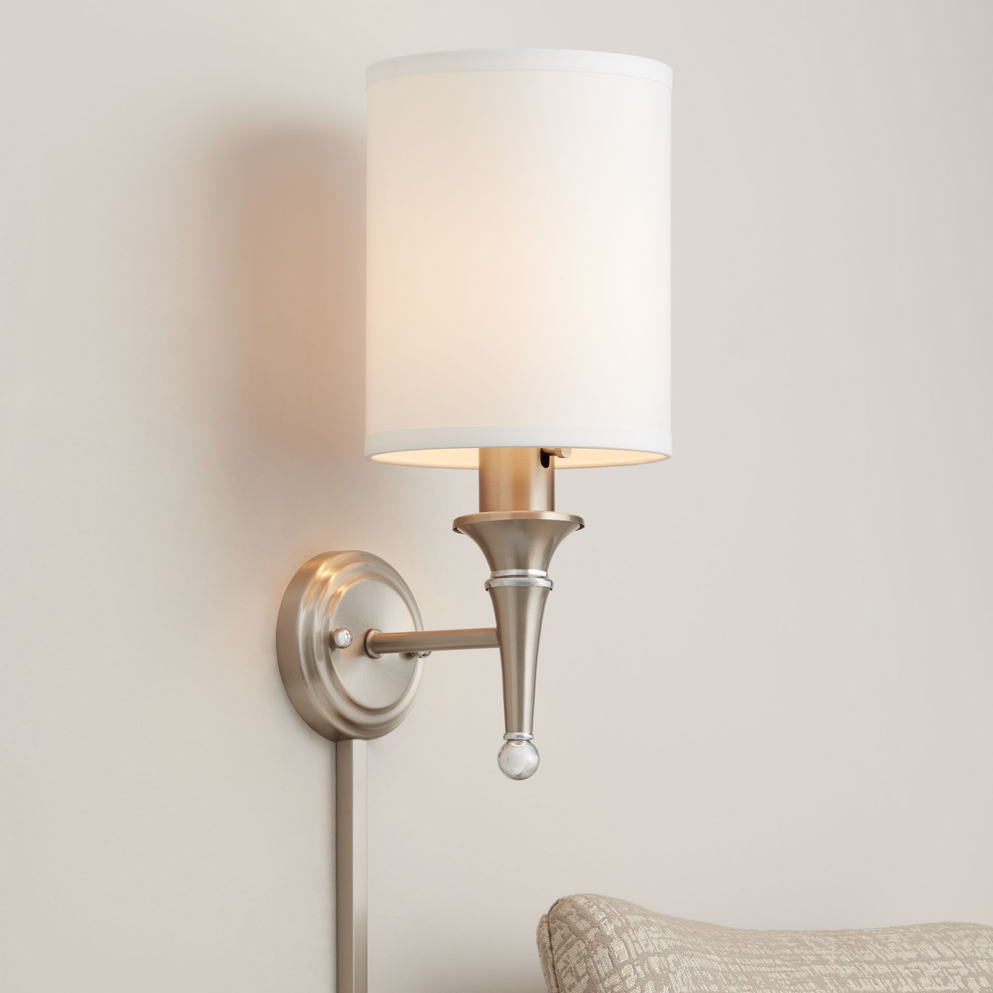 linos brushed steel plugin sconce