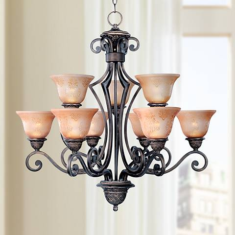 "Symphony 32"" Wide 9-Light Bronze Chandelier"