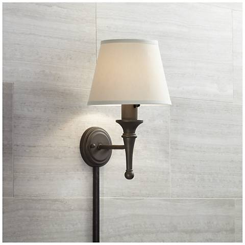 braidy bronze with copper plug in sconce with cord cover 58465 05178 lamps plus. Black Bedroom Furniture Sets. Home Design Ideas