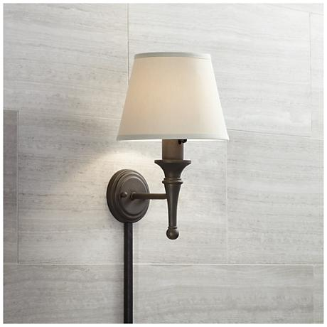 Wall Sconces With Cord Covers : Bronze with Copper Highlights Plug-in Sconce with Cord Cover - #58465-05178 Lamps Plus