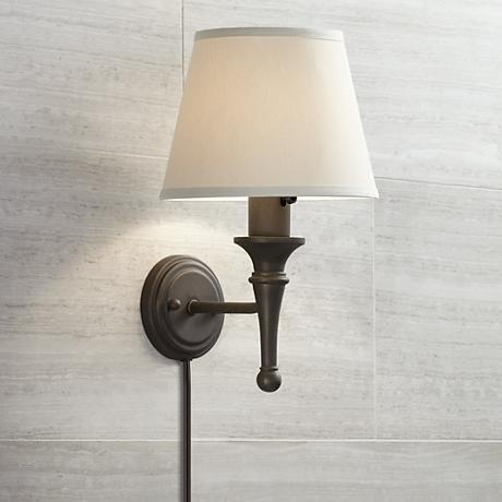 Bronze with Copper Highlights Plug-in Sconce