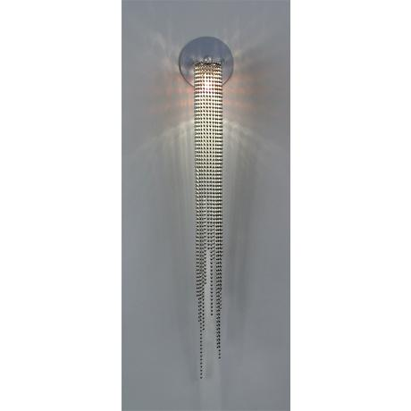 "Brushed Nickel 28"" High Beading Wall Sconce"