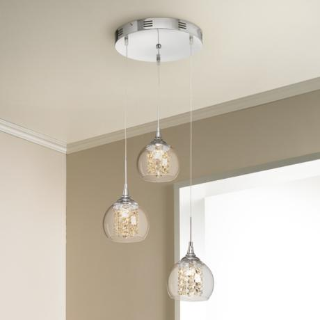 "Encircled Crystal 12"" Wide Halogen 3-in-1 Pendant"