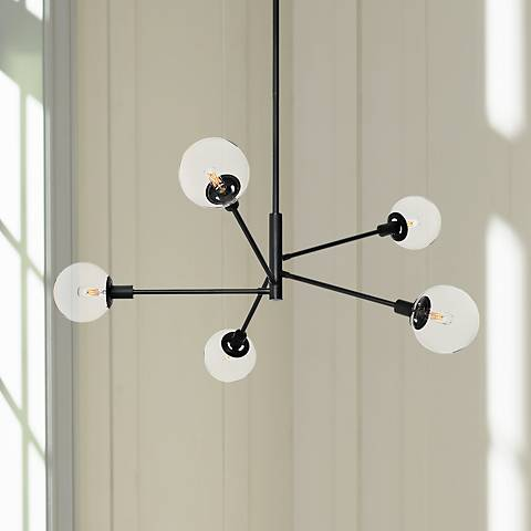 "Sonneman Orb 38 1/2"" Wide Satin Black 5-Light Chandelier"