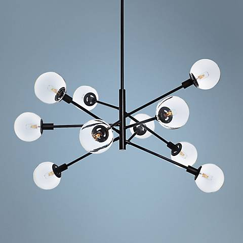 "Sonneman Orb 38 1/2"" Wide Satin Black 10-Light Chandelier"