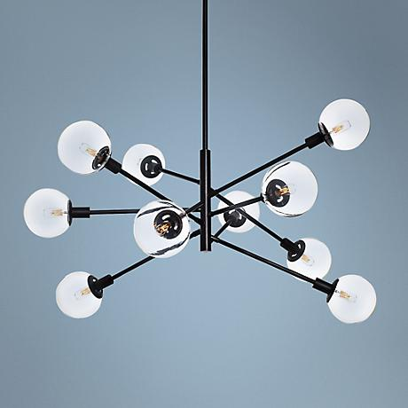 "Sonneman Orb 38 1/2"" Wide Satin Black Chandelier"