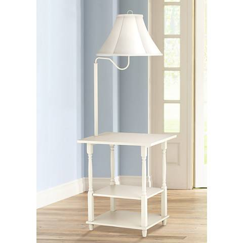 Blanca Antique White End Table Floor Lamp Lamps