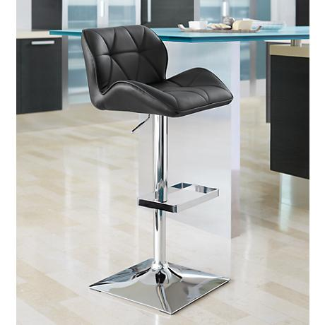 Boulton Chrome and Black Adjustable Barstool