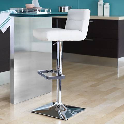 Stafford White Adjustable Height Barstool